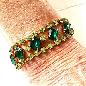 1960s Green Rhinestone Bracelet